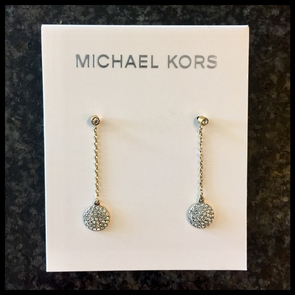 58fce3d439c27 Michael Kors Pavé Gold-Tone Disc Drop Earrings NWT